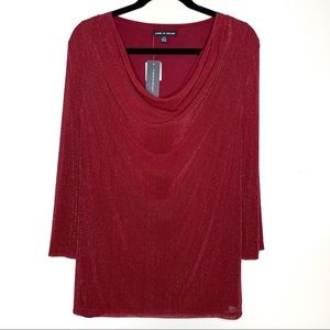 Cable & Gauge Red Metallic Drape Neck Top Large